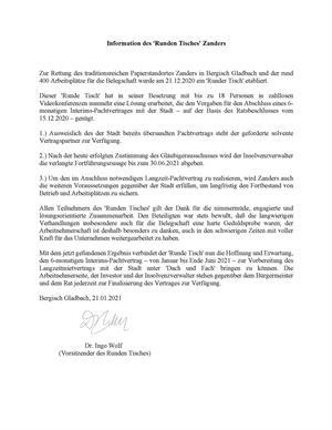 """Bürgermeister Frank Stein zur Information des """"Runden Tisches Zanders"""""""